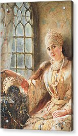 Boyar's Wife At The Window Acrylic Print by Konstantin Egorovich Makovsky
