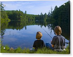 Boys Fishing Acrylic Print by Diane Diederich