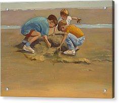 Boys In The Sand Acrylic Print by Sue  Darius