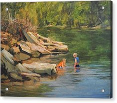 Boys Playing In The Creek Acrylic Print by Margaret Aycock