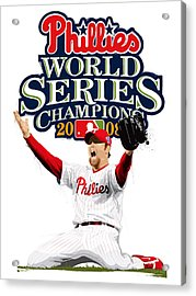 Brad Lidge Ws Champs Logo Acrylic Print by Scott Weigner