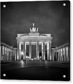Brandenburg Gate Berlin Black And White Acrylic Print by Melanie Viola