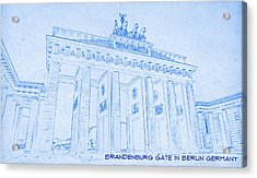 Brandenburg Gate In Berlin Germany - Blueprint Drawing Acrylic Print by MotionAge Designs