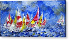 Braving The Heavy Winds Acrylic Print by Walter Fahmy
