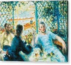 Breakfast By The River Acrylic Print by Pierre-Auguste Renoir