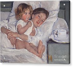 Breakfast In Bed Acrylic Print by Mary Cassatt