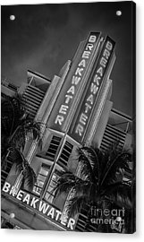 Breakwater Hotel Art Deco District Sobe Miami - Black And White Acrylic Print by Ian Monk