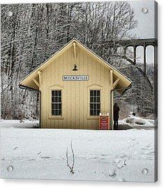 Brecksville Cuyahoga Valley Train Station Acrylic Print by Patricia Januszkiewicz