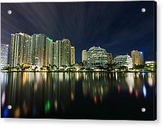 Brickell Key Night Cityscape Acrylic Print by Andres Leon