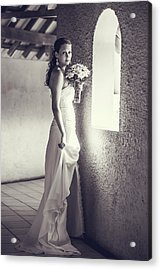 Bride At The Window. Black And White Acrylic Print by Jenny Rainbow