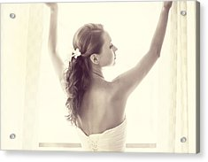 Bride At The Window Acrylic Print by Jenny Rainbow