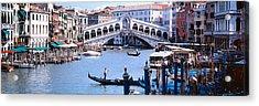 Bridge Across A River, Rialto Bridge Acrylic Print by Panoramic Images