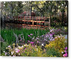 Bridge And Floral Acrylic Print by Jeff  Bjune