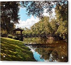 Bridge At Sawgrass Park Acrylic Print by Ginny Schmidt