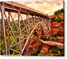 Bridge In Oak Creek Canyon Acrylic Print by Michael Pickett