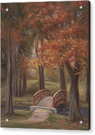 Bridge In The Fall Acrylic Print by Lucie Bilodeau