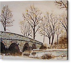 Snow Scenes In Watercolors Acrylic Print featuring the painting Bridge Over Frozen Water by Peter Kundra