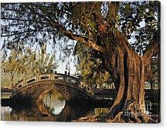 Bridge Over Water At Japanese Garden Acrylic Print by Sami Sarkis