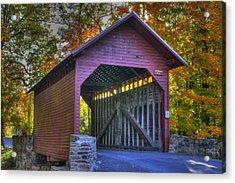 Bridge To The Past Roddy Road Covered Bridge-a1 Autumn Frederick County Maryland Acrylic Print by Michael Mazaika