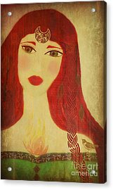 Brighid Celtic Goddess Folk Acrylic Print by Sacred  Muse