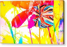 Bright Floral  Collage Acrylic Print by Anne-Elizabeth Whiteway