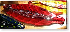 Brilliant Red Feather Glass Dish Acrylic Print by Donna Spencer