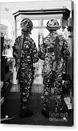 British Army Armed Soldiers In Riot Gear Watch Over House And Garden On Crumlin Road At Ardoyne Shop Acrylic Print by Joe Fox