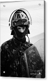 British Army Soldier In Riot Gear With Helmet And Shield On Crumlin Road At Ardoyne Shops Belfast 12 Acrylic Print by Joe Fox
