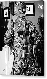 British Army Soldier In Riot Gear With Sa80 And Fire Extinguisher On Crumlin Road At Ardoyne Shops B Acrylic Print by Joe Fox
