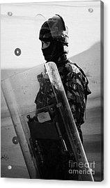 British Army Soldier With Helmet And Shield Riot Gear On Crumlin Road At Ardoyne Shops Belfast 12th  Acrylic Print by Joe Fox