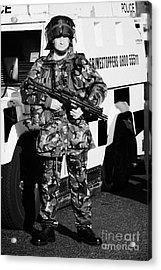 British Army Soldier With Mp5 On Crumlin Road At Ardoyne Shops Belfast 12th July Acrylic Print by Joe Fox