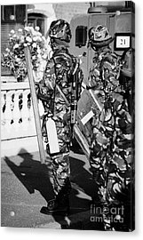 British Army Soldiers In Riot Gear With Fire Extinguisher On Crumlin Road At Ardoyne Shops Belfast 1 Acrylic Print by Joe Fox
