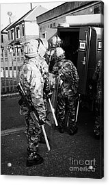 British Army Soldiers Pack Up Riot Gear On Crumlin Road At Ardoyne Shops Belfast 12th July Acrylic Print by Joe Fox