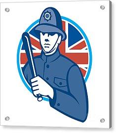 British Bobby Policeman Truncheon Flag Acrylic Print by Aloysius Patrimonio