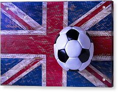British Flag And Soccer Ball Acrylic Print by Garry Gay