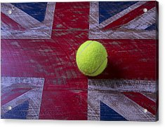 British Flag And Tennis Ball Acrylic Print by Garry Gay