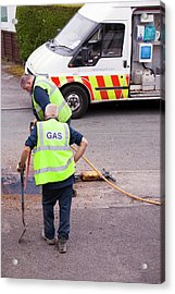 British Gas Workers Replacing Old Pipes Acrylic Print by Ashley Cooper