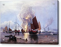 British Ships Destroying An Enemy Fleet In Canton Acrylic Print by Anonymous