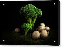 Broccoli Crowns And Mushrooms Acrylic Print by Tom Mc Nemar
