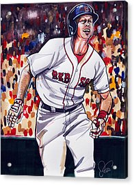 Brock Holt Of The Boston Red Sox Acrylic Print by Dave Olsen