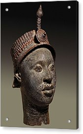 Bronze Head With Beaded Crown Acrylic Print by Everett