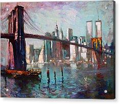 Brooklyn Bridge And Twin Towers Acrylic Print by Ylli Haruni
