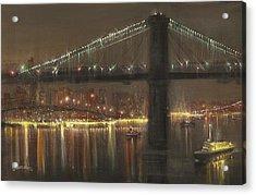 Brooklyn Bridge Cruciform Acrylic Print by Tom Shropshire