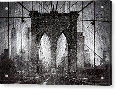 Brooklyn Bridge Snow Day Acrylic Print by Chris Lord