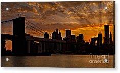 Brooklyn Bridge Sunset Acrylic Print by Susan Candelario