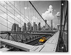 Brooklyn Bridge View Nyc Acrylic Print by Melanie Viola