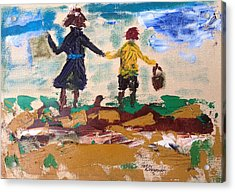 Brother And Sister Playing In The Field. Acrylic Print by Roger Cummiskey