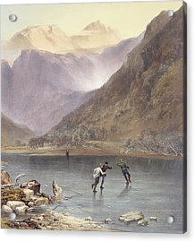 Brothers Water, Detail Of Ice Skaters Acrylic Print by James Baker Pyne