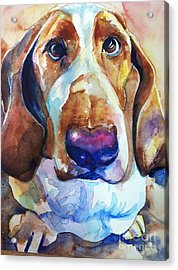 Brown Eyes Acrylic Print by Maria's Watercolor