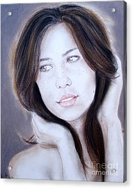 Brown Haired And Lightly Freckled Beauty Acrylic Print by Jim Fitzpatrick